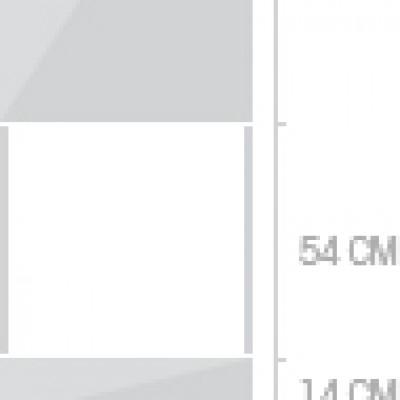 60x233 cm, 1 lucka + 2  lådor