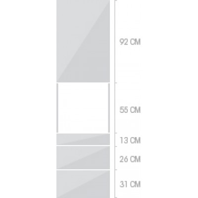 60x233 cm, 1 lucka + 3  lådor